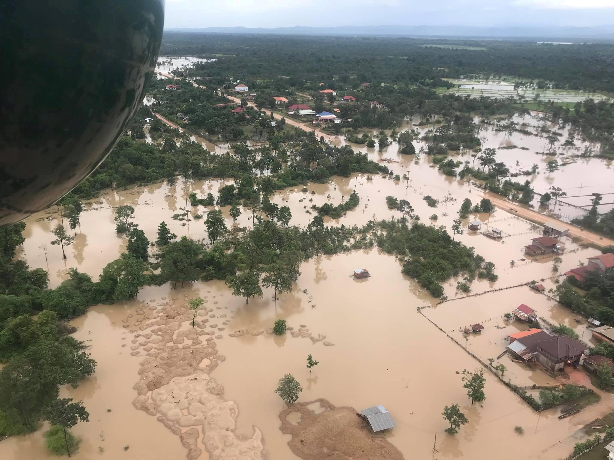 L'effondrement d'un barrage a provoqué d'importantes inondations dans la province d'Attapeu au Laos, ici le 25 juillet 2018.