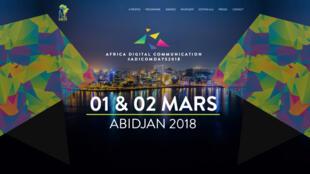 La page d'accueil du site de la 2e édition Adicom qui s'est tenue à Abidjan, en Côte d'Ivoire les 1er et 2 mars.