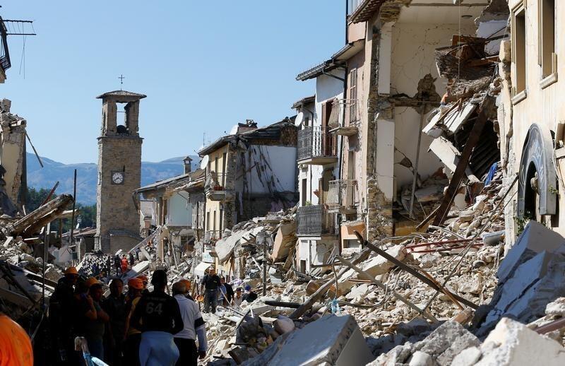 Una imagen de Amatrice, al centro de Italia luego del terremoto que tuvo lugar en la madrugada del 24 de agosto de 2016.
