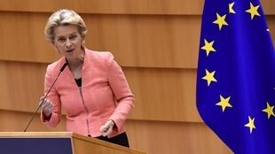 La présidente de la Commission européenne, Ursula von der Leyen, devant le Parlement européen, à Bruxelles, le 16 septembre 2020.