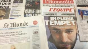Primeira páginas dos diários franceses de 5/11/2015