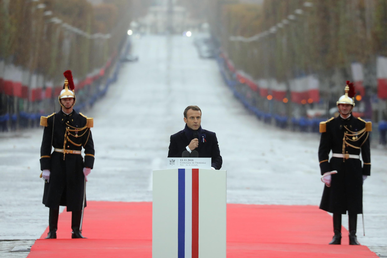 امانوئل ماکرون، رییسجمهوری فرانسه، یازدهم نوامبر، مراسم بزرگداشت یکصدمین سالروز پایان جنگ جهانی اول در پاریس