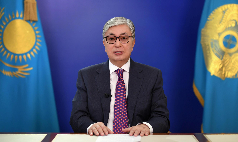 Kassym-Jomart Tokayev é o presidente-eleito do Cazaquistão.Aqui numa alocução televisiva  no passado mês  de Abril.