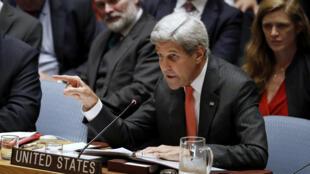 O secretário de Estado norte-americano, John Kerry na reunião do Conselho de Segurança da ONU, quarta-feira 21 de Setembro.