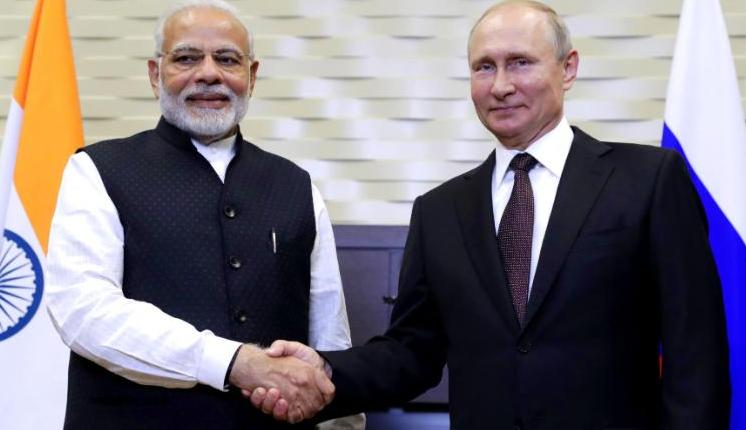 印度总理莫迪与俄罗斯总统普京资料图片