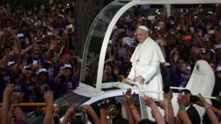 Le pape François à Lima, au Pérou, le 18 janvier 2018.