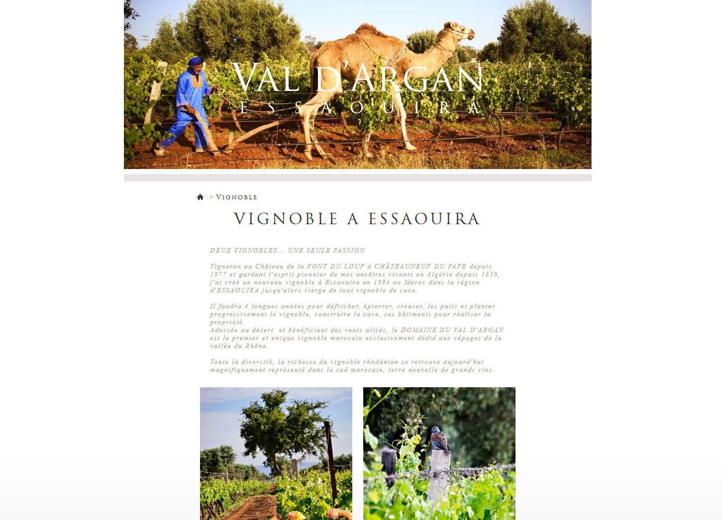 La page d'accueil du site internet du Val d'Argan, plantation viticole d'Essaouira au Maroc.