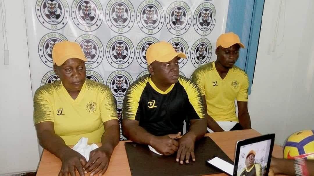 Sierra Leone's East End Tigers football team announces Victoria 'D'Cox' Conteh (L)  as their new coach-- a first for Salone football