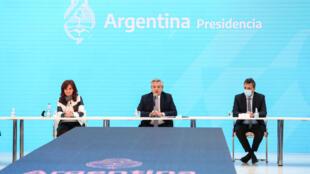 Presidente Alberto Fernández e ministro Martín Guzmán anunciam resultado da reestruturação da dívida com credores estrangeiros Presidência Argentina.
