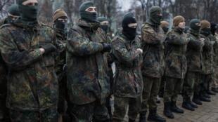 Новобранцы батальона «Азов» приносят присягу. Март 2015 г.