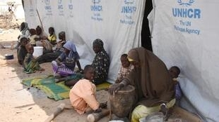 A glimpse of the future: Nigerian refugees prepare food at a UN refugee camp in Baga Sola.