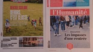 Primeiras páginas  de diários franceses 01 09 2020