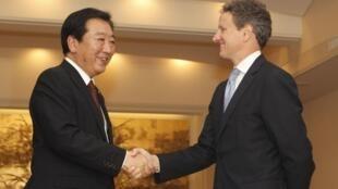 O secretário do Tesouro americano, Timothy Geithner, e o premiê japonês Yoshihiko Noda