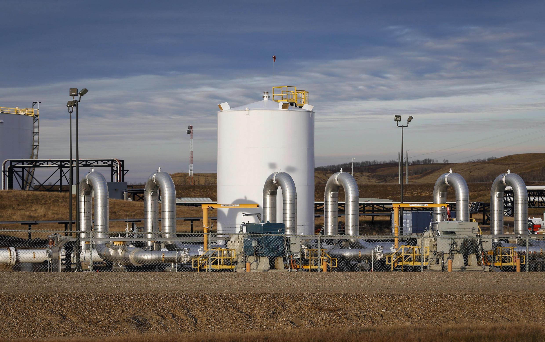 Image d'archive RFI: Le site de l'oléoduc Keystone de TC Energy à Hardisty en Alberta au Canada en décembre 2015