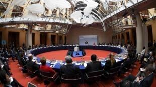O presidente francês, François Hollande, durante seu discurso no Diálogo do Clima de Petersburgo, em Berlim.