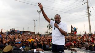 Le président sortant, Uhuru Kenyatta, reprend sa campagne après l'annulation des résultats de la présidentielle au Kenya par la Cour suprême, le 1er septembre 2017.