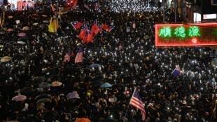 圖為世界人權日2019年12月8日香港民眾再示威