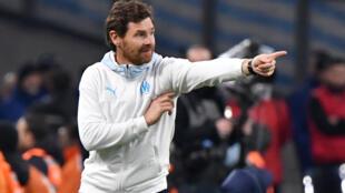 Le Portugais André Villas-Boas durant le match Marseille-Angers au stade Vélodrome, le 25 janvier 2020