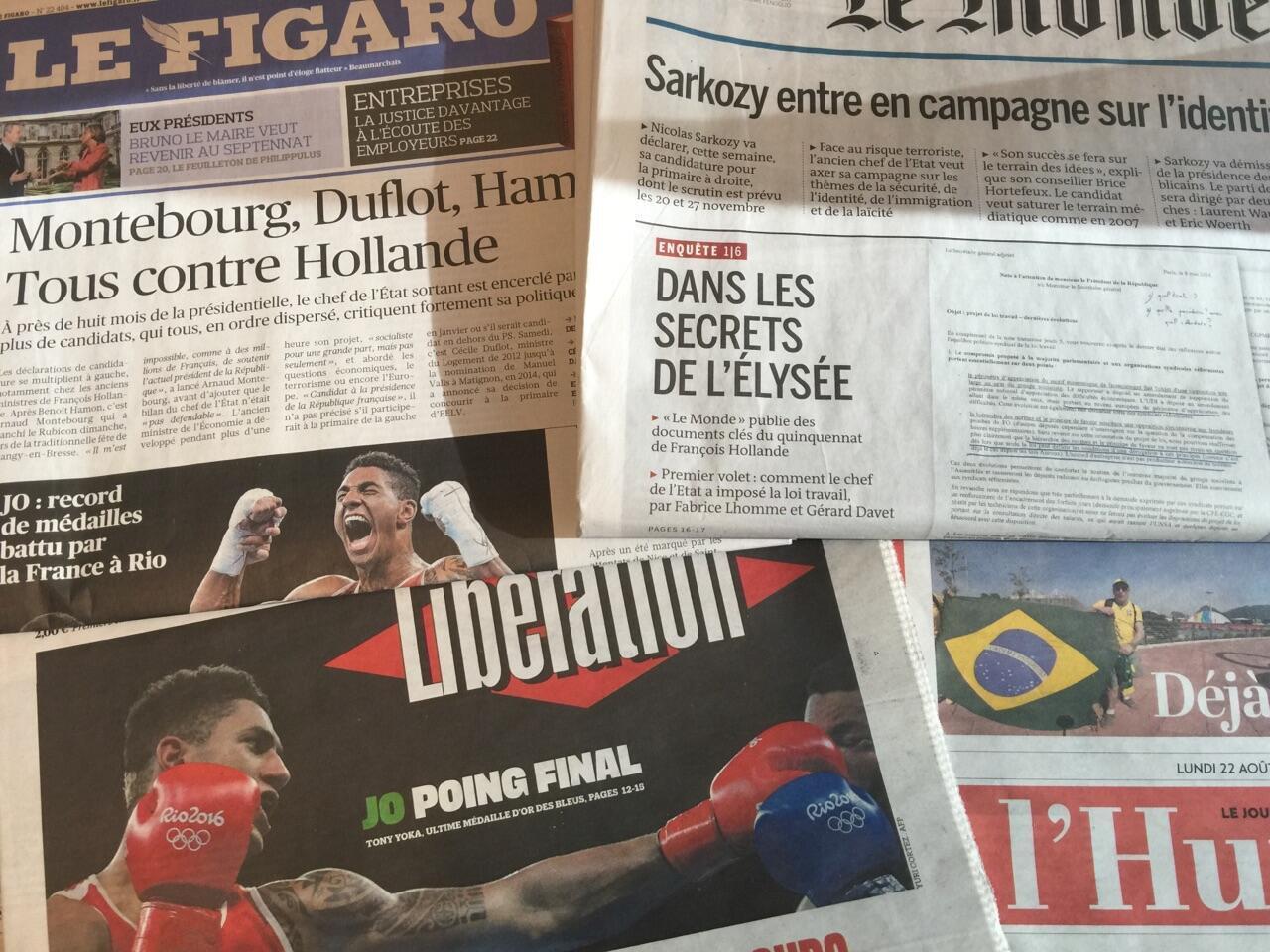Capas dos jornais de 22/08/2016