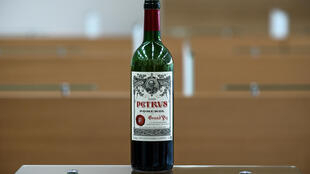 The bottle of Petrus that went into space, seen here at the University of Bordeaux