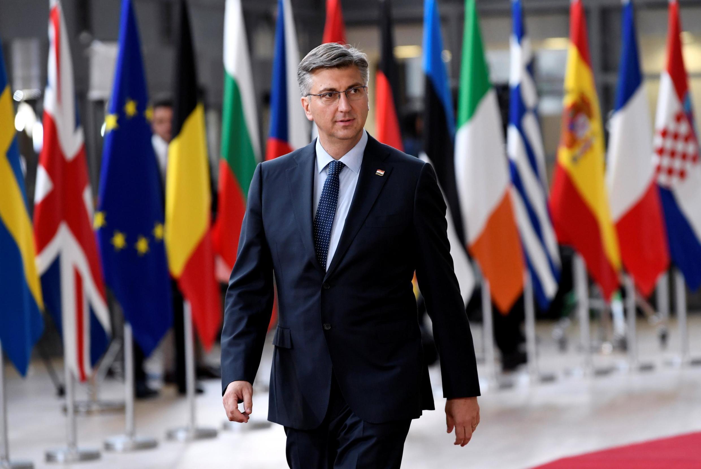 Le Premier ministre croate Andrej Plenkovic, à son arrivée au Parlement européen, le 28 mai 2019. (Photo d'illustration).  Cet été 2019, il a dû se séparer d'une dizaine de ministres mêlés à plusieurs «affaires» révélées par la presse.
