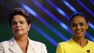 Dilma Rousseff (G) et Marina Silva (D), lors du dernier débat télévisé avant le premier tour de la présidentielle au Brésil, le 2 octobre 2014.