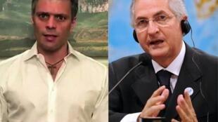 Les cadres de l'opposition Leopoldo Lopez (à gauche) et Antonio Ledezma ont été arrêtés ce mardi 1er août au Venezuela.