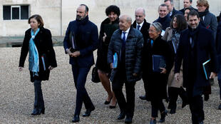 Edouard Philippe with ministers ahead of much-awaited meetings with trade unions over the pension reform. January 2020.