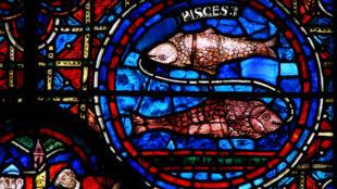Uno de los vitrales sobre los signos zodiacales de la Catedral de Chartres.
