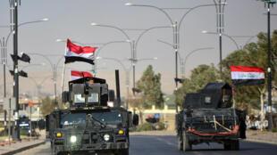 Les forces irakiennes dans Kirkouk, le 16 octobre 2017.