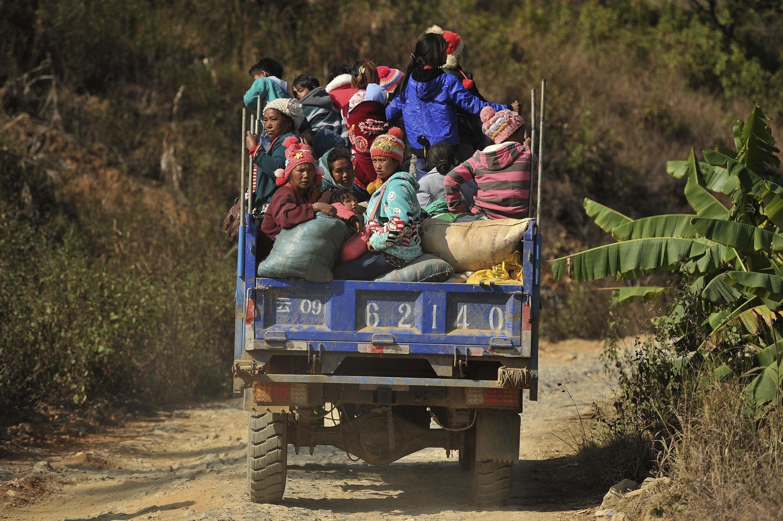 Dân Kokang chạy lánh nạn gần khu vực biên giới chung với Trung Quốc, ngày 18/02/2015
