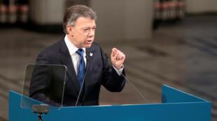 El presidente Santos en la entrega del Nobel en Oslo, 10/12/16.