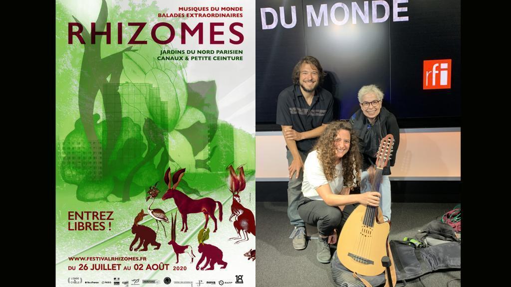 Rhizomes 2020 (Rhizomes) & Youmna Saba, Blaise Merlin et Laurence Aloir à RFI (Photo Taguy Mfah Traoré).