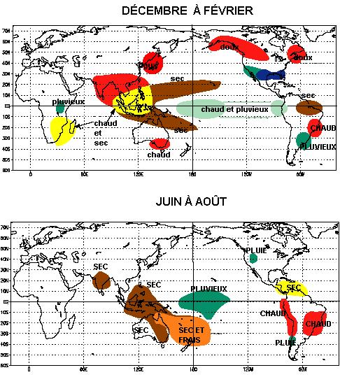 Impacts sur le climat mondial des épisodes de El Niño (carte de la National Oceanic and Atmospheric Administration).