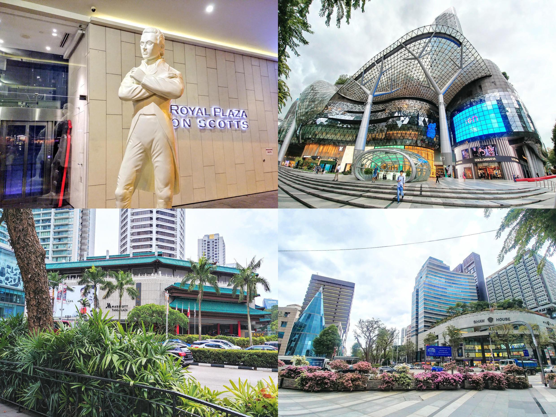 Bức tượng trắng khắc họa chân dung ông Raffles, dựng trên Orchard Road, đại lộ sầm uất nhất của Singapore