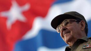 Le président cubain Raul Castro à La Havane le 1er mai 2008.