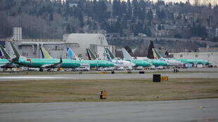 Boeing 737 MAX aircraft parked at a Boeing production facility in Renton, Washington, US, 11 March 2019.
