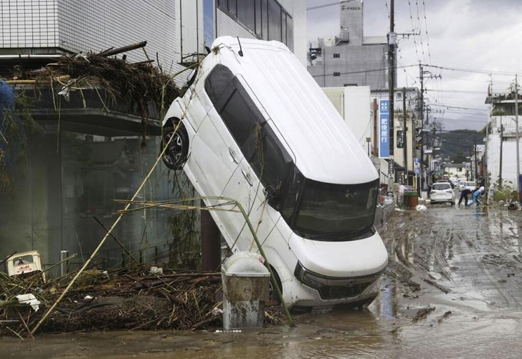 A scene from the flood-ravaged Japanese island of Kyushu.