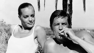 "French actor Alain Delon and Romy Schneider during the filming of ""La Piscine"" in 1968"