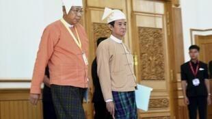 图为缅甸新当选总统吴廷觉与议会下院议长温敏出席联邦议会会议