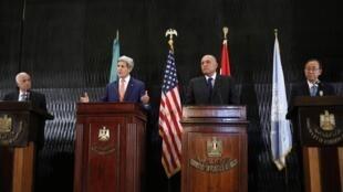 Mkutano wa mjini Cairo hapo jana ulihudhuriwa na John Kerry waziri wa mambo ya kigeni wa Marekani na Katibu mkuu wa Umoja wa Mataifa Ban ki Moon