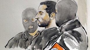 A court artist drawing shows Mehdi Nemmouche during the trial of Nemmouche and Nacer Bendrer, who are suspected of killing four people in a shooting at Brussels' Jewish Museum in 2014, at Brussels' Palace of Justice, Belgium March 7, 2019.