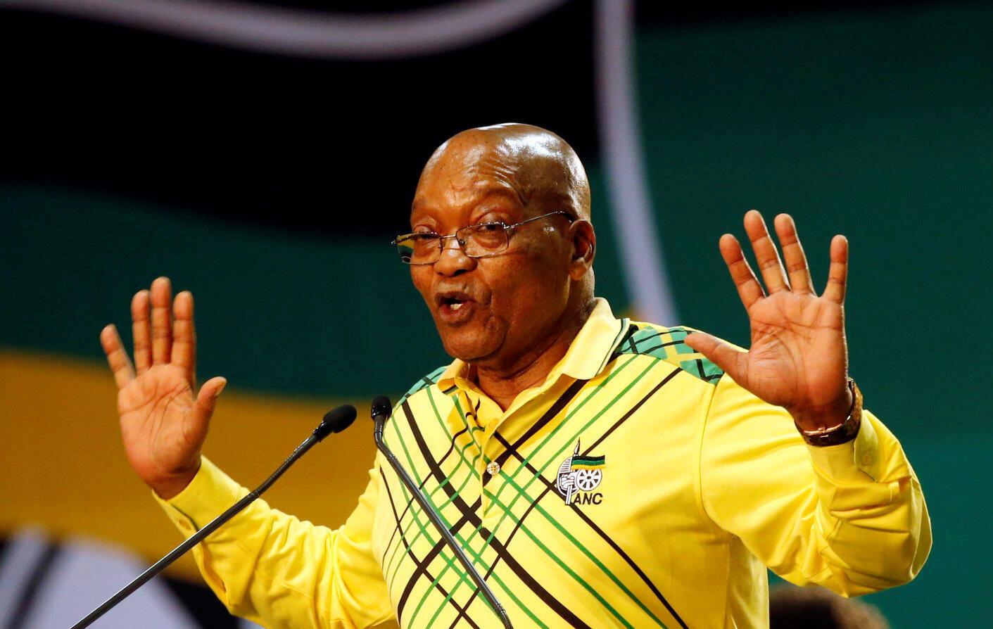 Le président sud-africain Jacob Zuma à la tribune du 54e congrès de l'ANC, à Johannesburg, le 16 décembre 2017.