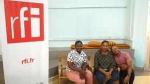 Carine Mukanda, Maggy Bizwaza Kibansa et Max Lobé à la Fête du livre de Kinshasa 2020.