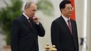Владимир Путин и Ху Цзиньтао на саммите ШОС в Пекине 05/06/2012