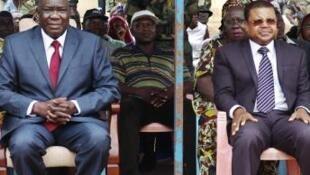 Vigogo wawili wa serikali ya jamuhuri ya Afrika ya Kati, M. Djotodia (kushoto) na N. Tiangaye