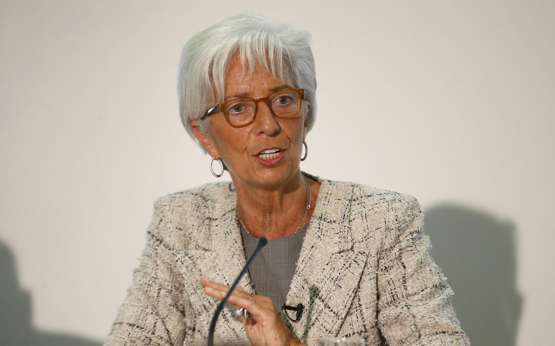 Tổng giám đốc Quỹ Tiền Tệ Quốc Tế IMF, bà Christine Lagarde, phát biểu tại Luân Đôn ngày 13/5/2016.