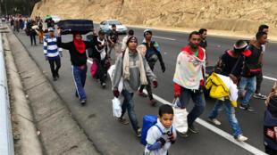 Migrantes venezolanos caminan por la carreteras ecuatorianas huyendo de la crisis económica de su país