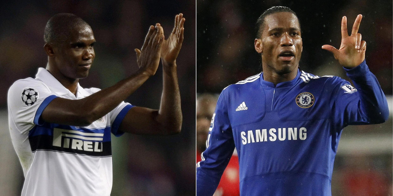 Le Camerounais Samuel Eto'o et l'Ivoirien Didier Drogba.