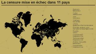 Bản đồ 11 nước có website được hỗ trợ tiếp cận (RSF)